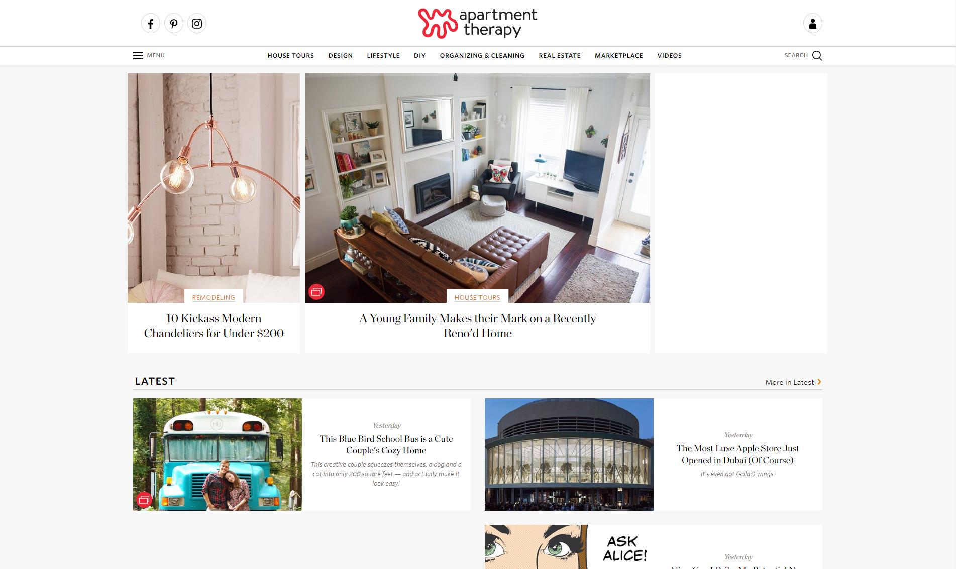 apartmenttherapy.com donne des inspirations pour un ameublement agréable
