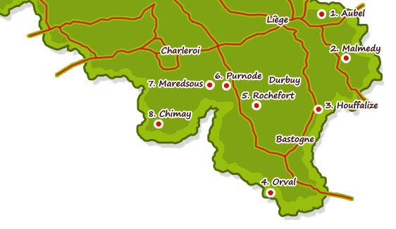 Carte Belgique Maredsous.Route De La Biere En Ardenne Brasserie Ardenne Belgique